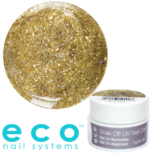 Eco Nail Systems 24Karat Glitter Eco Soak Off geelilakka 7 g