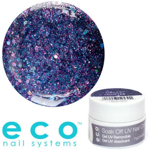Eco Nail Systems Galaxy Glitter Eco Soak Off geelilakka 7 g