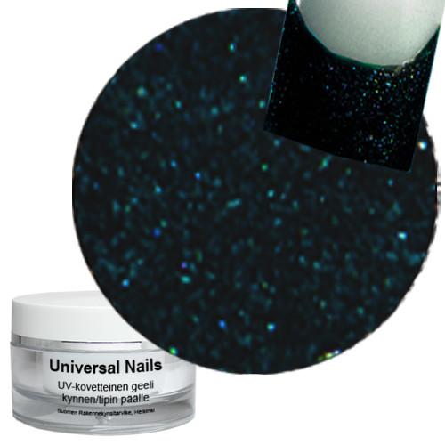 Universal Nails Maaginen Musta/Turkoosi UV glittergeeli 10 g