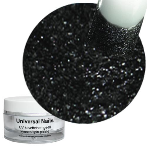 Universal Nails Maaginen Musta/Hopea UV glittergeeli 10 g
