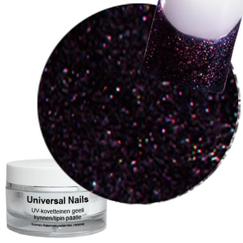 Universal Nails Maaginen Musta/Munakoiso UV glittergeeli 10 g