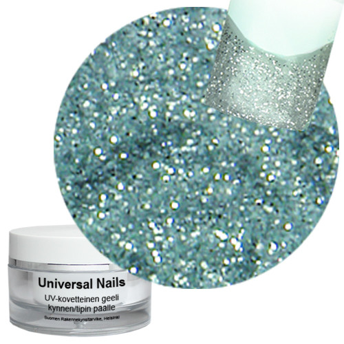 Universal Nails Heleä Hopea UV/LED glittergeeli 10 g