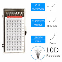 Noname Cosmetics Premade Fans Rootless 10D Volyymiripsiviuhkat C 0.07 / 10mm