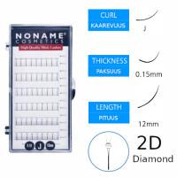 Noname Cosmetics Premade Fans 2D Diamond Volyymiripsiviuhkat J 0.15 / 12mm strassilla