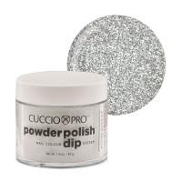 Cuccio Silver w/ Silver Glitter Dip Powder Polish dippipuuteri 45 g
