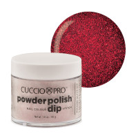 Cuccio Dark Red Glitter Dip Powder Polish dippipuuteri 45 g