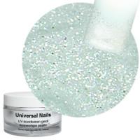 Universal Nails Valkohopea UV glittergeeli 10 g