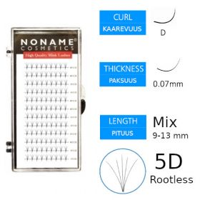 Noname Cosmetics Premade Fans Rootless 5D Volyymiripsiviuhkat D 0.07 / mix 9-13mm