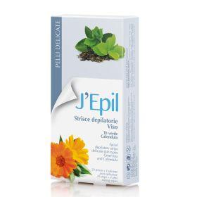 Xanitalia J'Epil Face Kylmävahaliuskat kasvoille Green Tea & Calendula 20 kpl