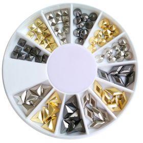 Noname Cosmetics Metalliset koristeet kulta-hopea-musta 120 kpl