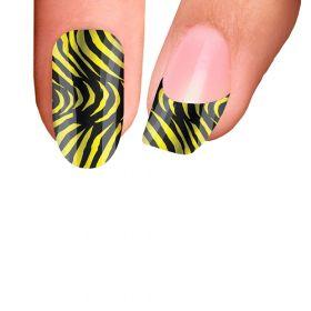 Trendy Nail Wraps Zebra Yellow Kynsikalvo koko kynsi